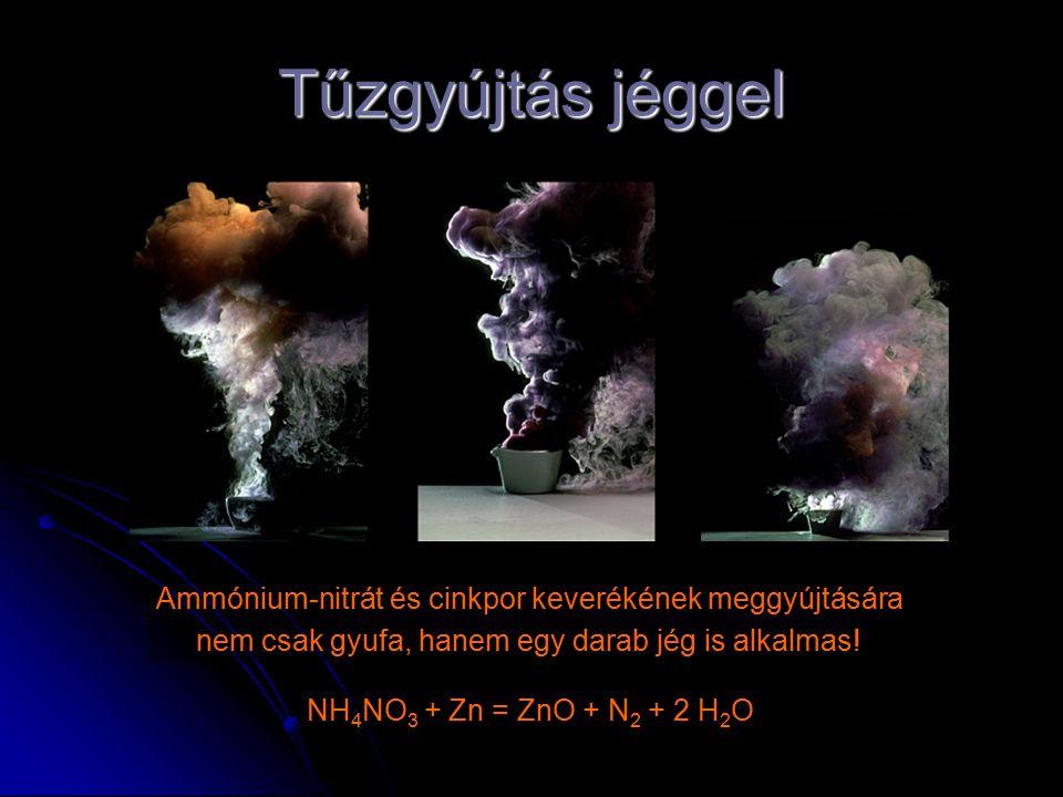 Tűzgyújtás jéggel Ammónium-nitrát és cinkpor keverékének meggyújtására