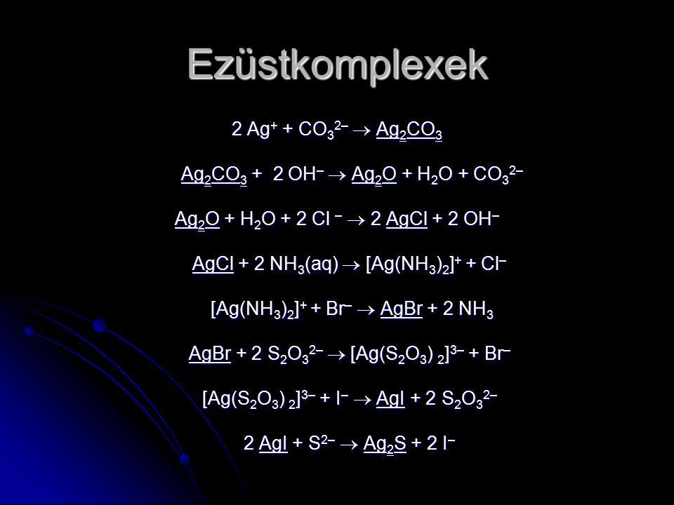 Ezüstkomplexek 2 Ag+ + CO32–  Ag2CO3