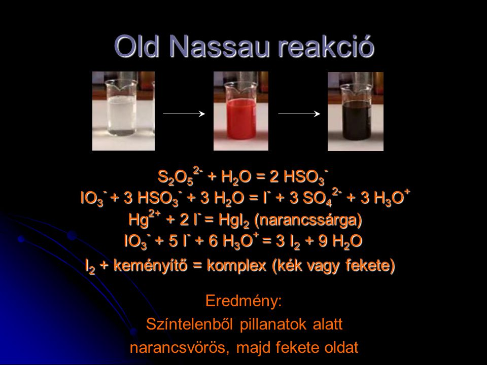 Old Nassau reakció S2O52- + H2O = 2 HSO3-