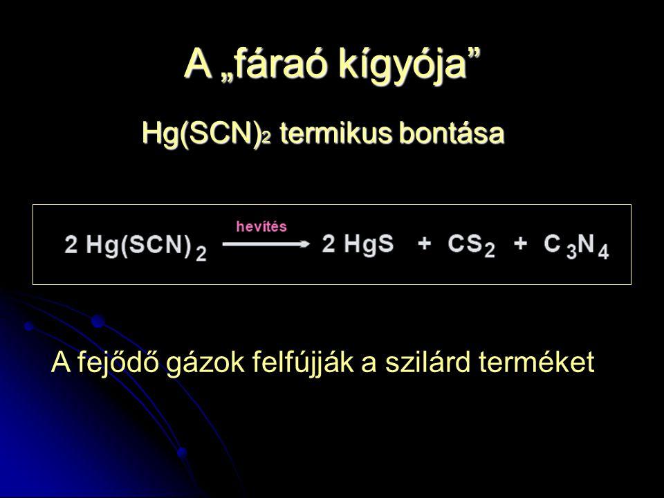 """A """"fáraó kígyója Hg(SCN)2 termikus bontása"""