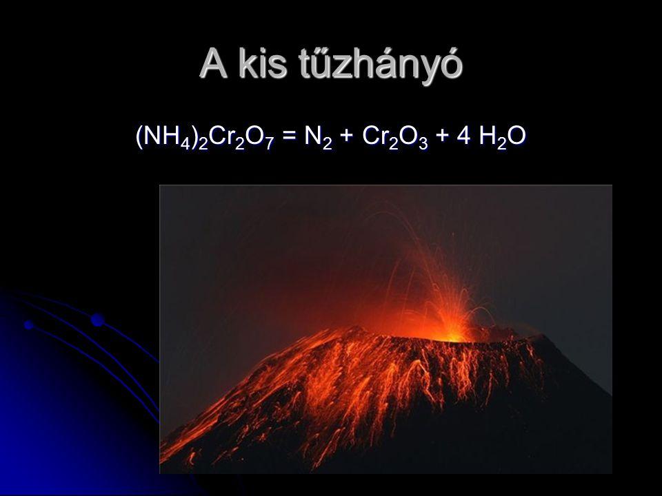 A kis tűzhányó (NH4)2Cr2O7 = N2 + Cr2O3 + 4 H2O