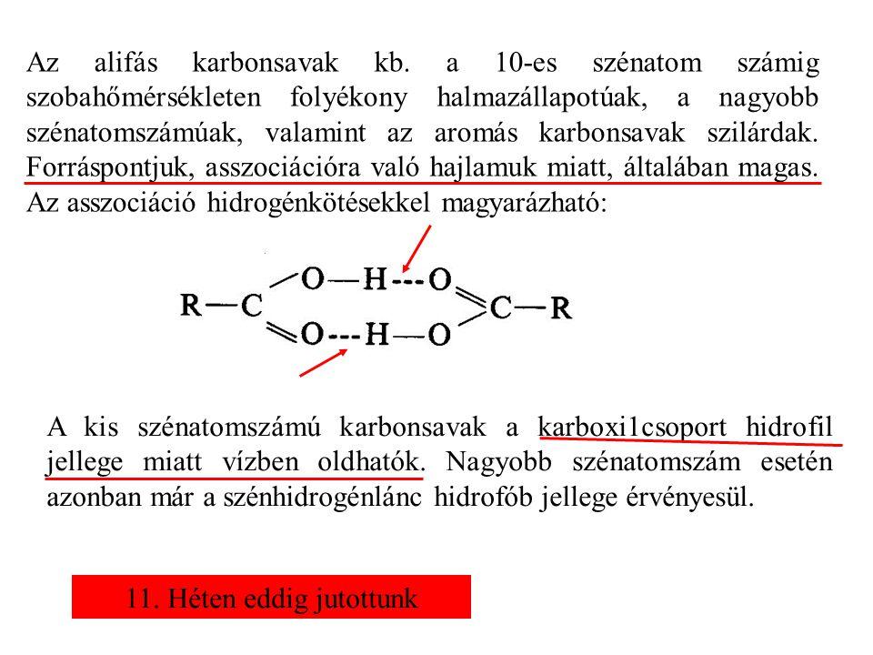 Az alifás karbonsavak kb