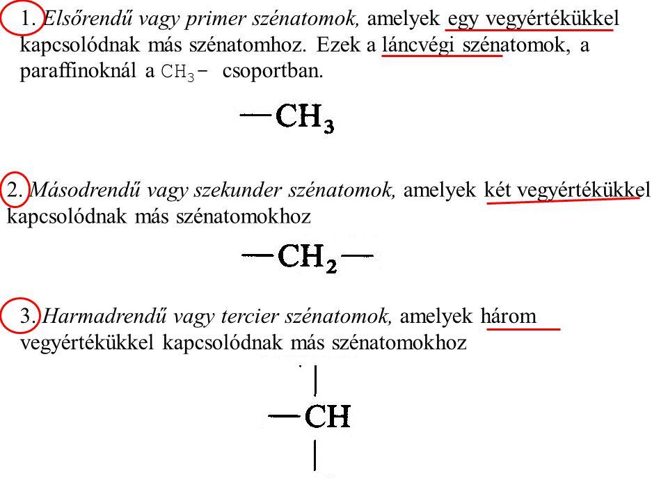 1. Elsőrendű vagy primer szénatomok, amelyek egy vegyértékükkel kapcsolódnak más szénatomhoz. Ezek a láncvégi szénatomok, a paraffinoknál a CH3- csoportban.