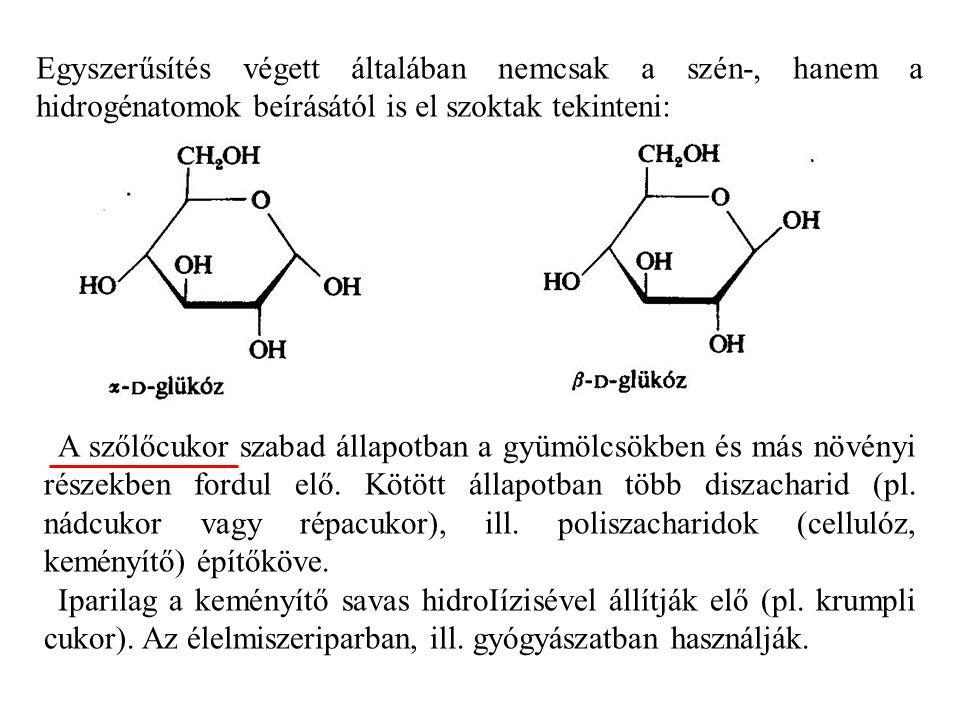 Egyszerűsítés végett általában nemcsak a szén-, hanem a hidrogénatomok beírásától is el szoktak tekinteni: