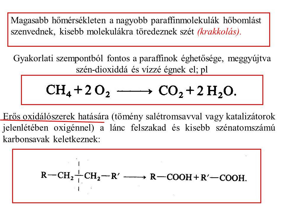 Magasabb hőmérsékleten a nagyobb paraffinmolekulák hőbomlást szenvednek, kisebb molekulákra töredeznek szét (krakkolás).