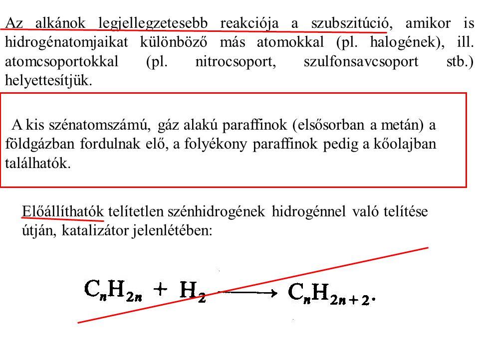 Az alkánok legjellegzetesebb reakciója a szubszitúció, amikor is hidrogénatomjaikat különböző más atomokkal (pl. halogének), ill. atomcsoportokkal (pl. nitrocsoport, szulfonsavcsoport stb.) helyettesítjük.