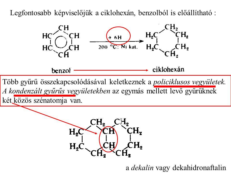 Legfontosabb képviselőjük a ciklohexán, benzolból is előállítható :