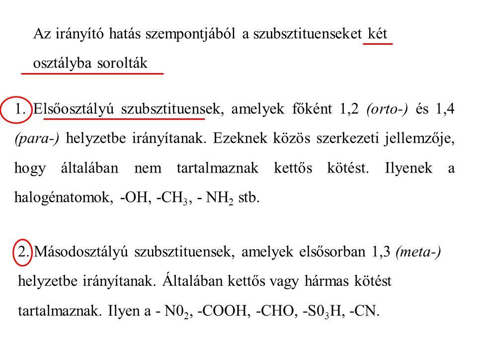 Az irányító hatás szempontjából a szubsztituenseket két osztályba sorolták