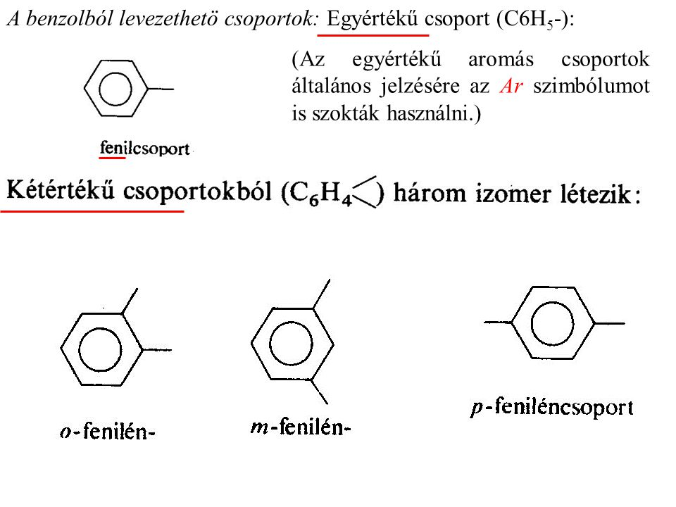 A benzolból levezethetö csoportok: Egyértékű csoport (C6H5-):