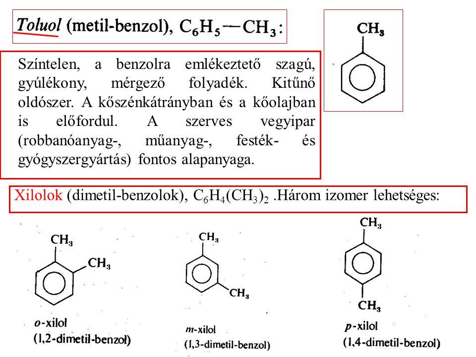 Színtelen, a benzolra emlékeztető szagú, gyúlékony, mérgező folyadék