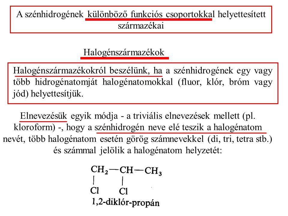 A szénhidrogének különböző funkciós csoportokkal helyettesített származékai