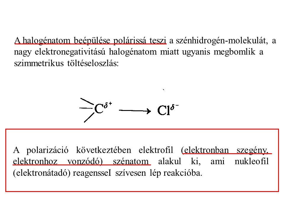 A halogénatom beépülése polárissá teszi a szénhidrogén-molekulát, a nagy elektronegativitású halogénatom miatt ugyanis megbomlik a szimmetrikus töltéseloszlás: