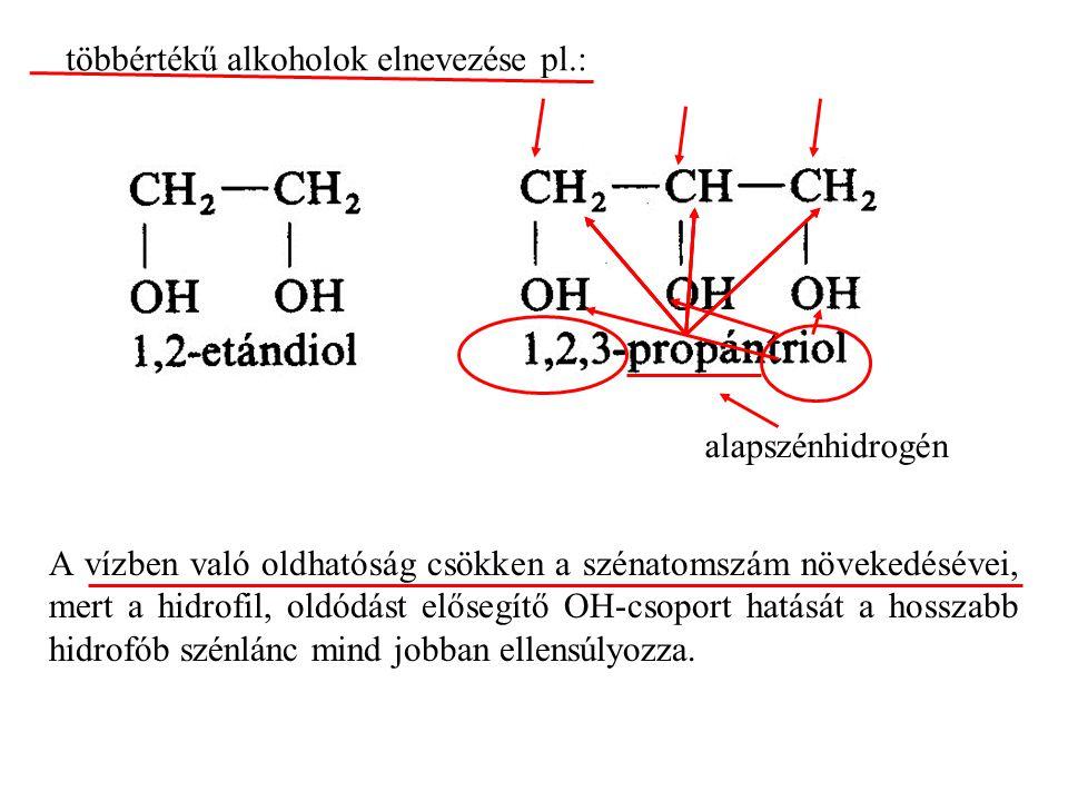többértékű alkoholok elnevezése pl.: