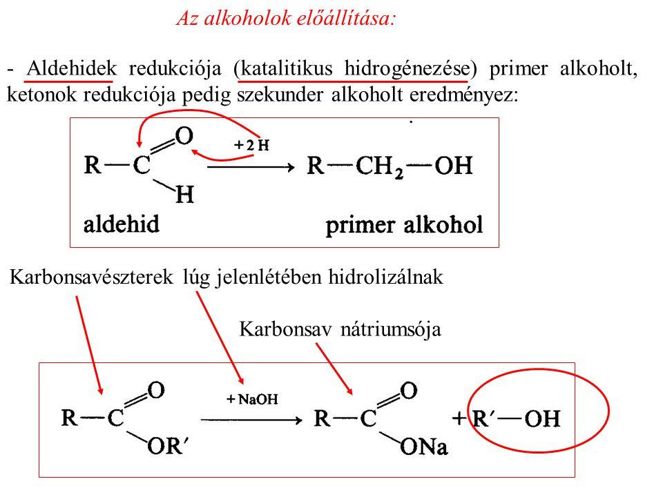 Az alkoholok előállítása: