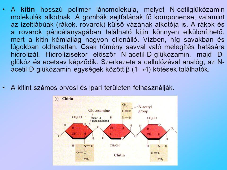 A kitin hosszú polimer láncmolekula, melyet N-cetilglükózamin molekulák alkotnak. A gombák sejtfalának fő komponense, valamint az ízeltlábúak (rákok, rovarok) külső vázának alkotója is. A rákok és a rovarok páncélanyagában található kitin könnyen elkülöníthető, mert a kitin kémiailag nagyon ellenálló. Vízben, híg savakban és lúgokban oldhatatlan. Csak tömény savval való melegítés hatására hidrolizál. Hidrolízisekor először N-acetil-D-glükózamin, majd D-glükóz és ecetsav képződik. Szerkezete a cellulózéval analóg, az N-acetil-D-glükózamin egységek között β (1→4) kötések találhatók.