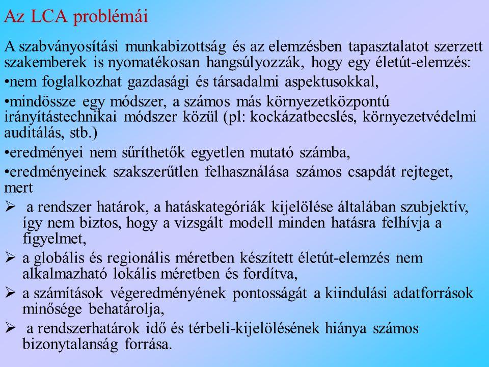 Az LCA problémái
