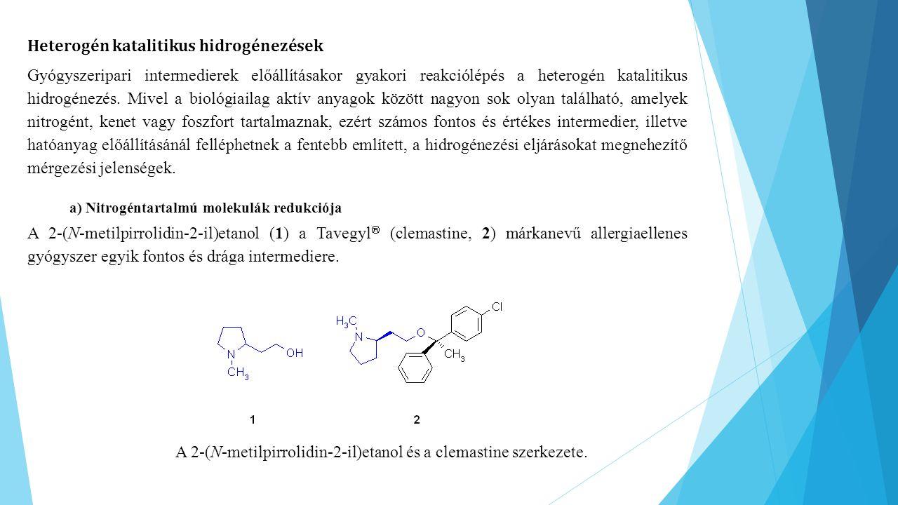A 2-(N-metilpirrolidin-2-il)etanol és a clemastine szerkezete.