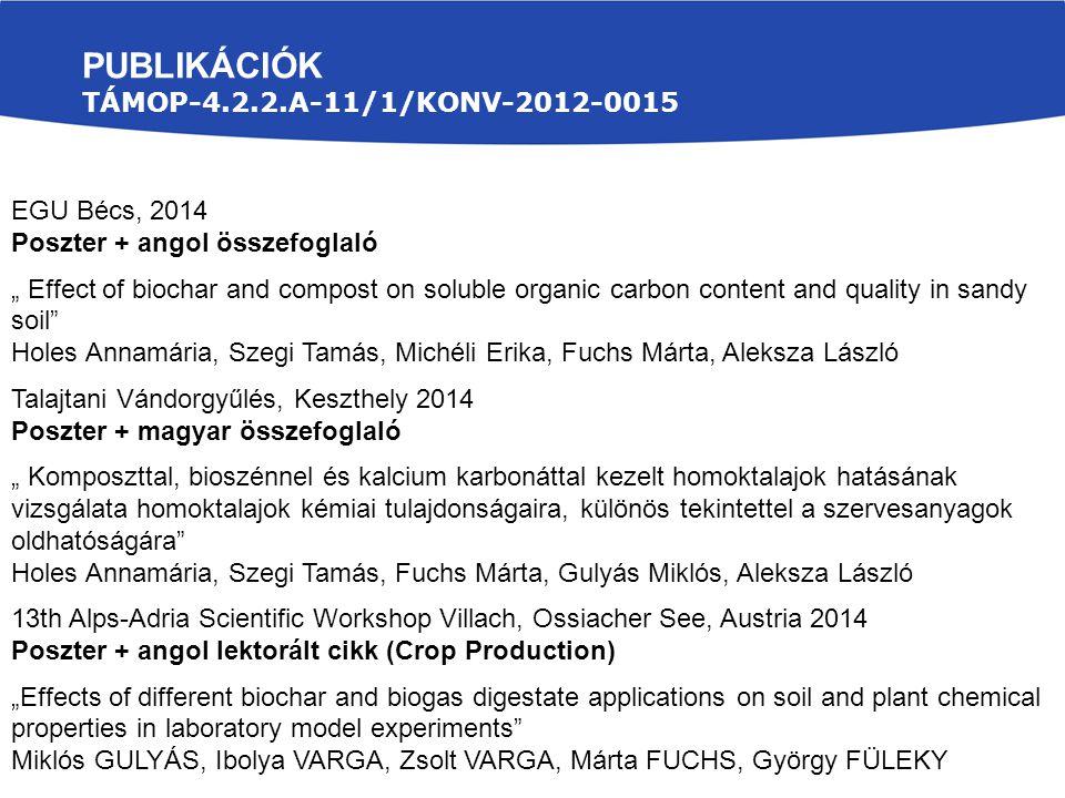 Publikációk TÁMOP-4.2.2.A-11/1/KONV-2012-0015