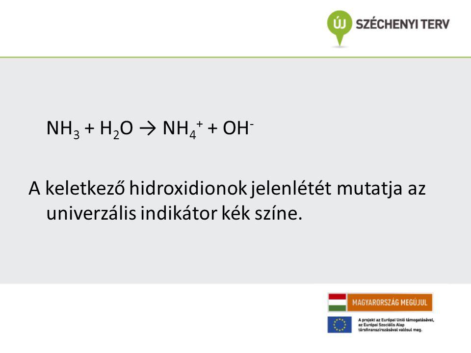 NH3 + H2O → NH4+ + OH- A keletkező hidroxidionok jelenlétét mutatja az univerzális indikátor kék színe.