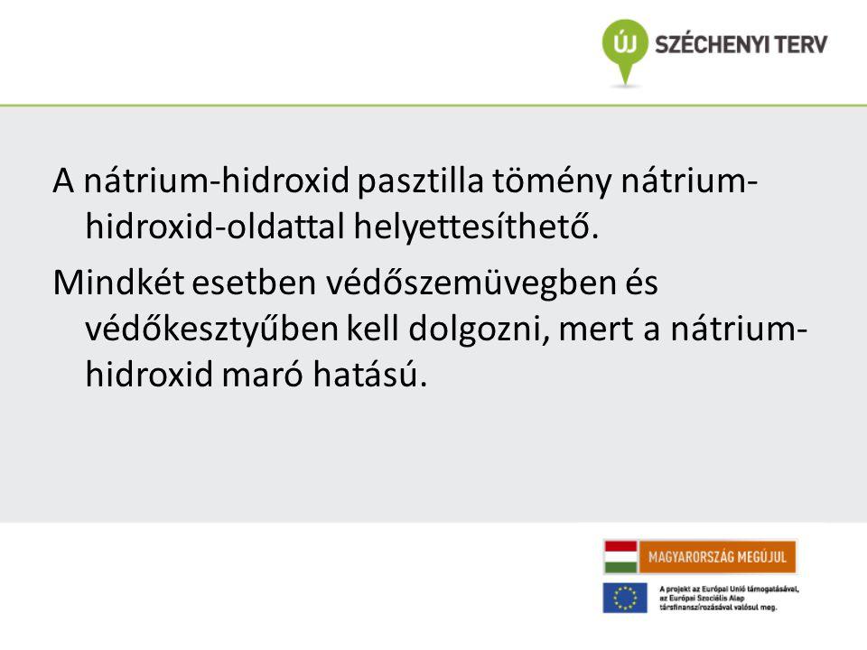 A nátrium-hidroxid pasztilla tömény nátrium-hidroxid-oldattal helyettesíthető.