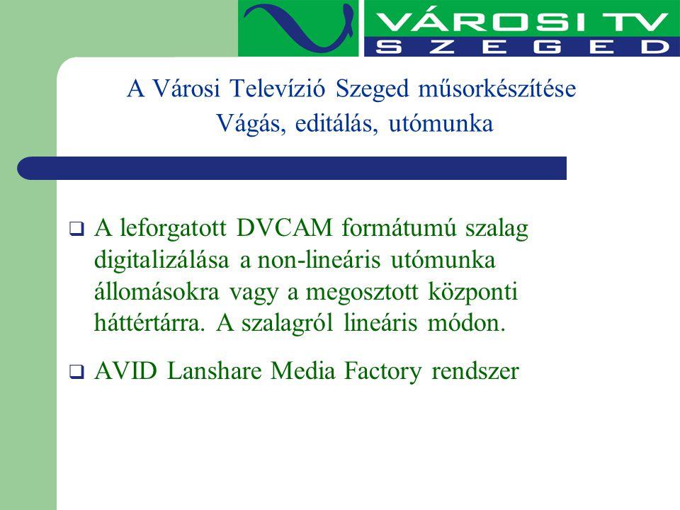 A Városi Televízió Szeged műsorkészítése Vágás, editálás, utómunka