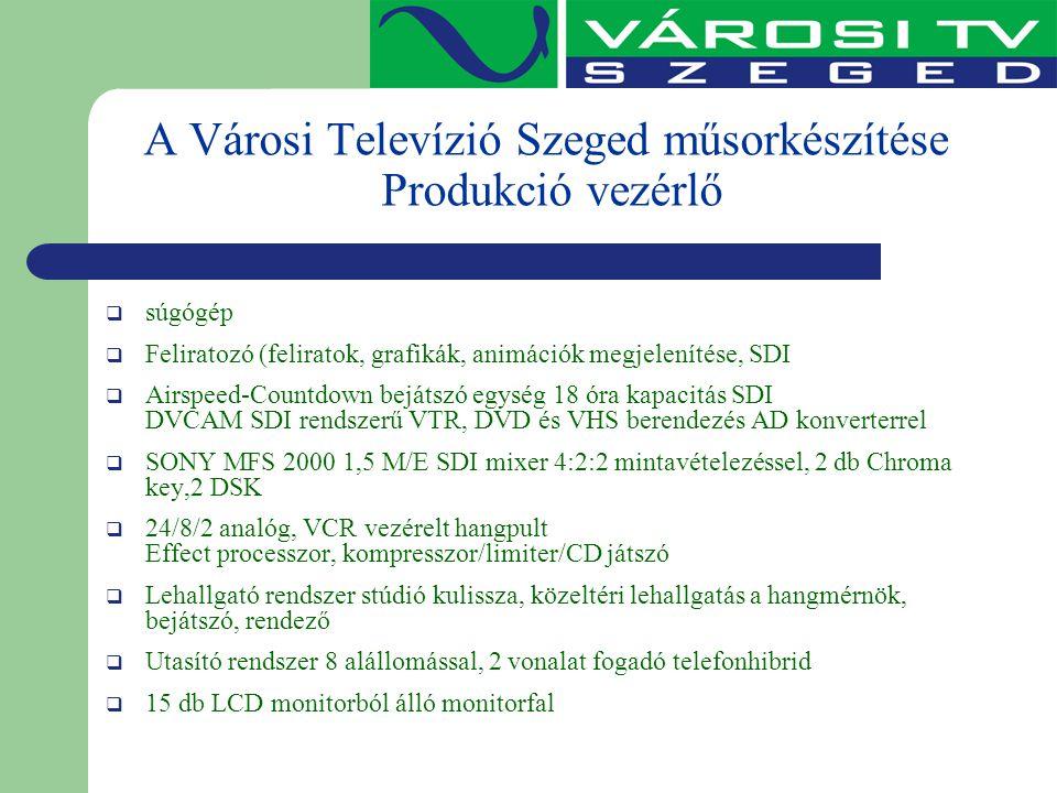 A Városi Televízió Szeged műsorkészítése Produkció vezérlő