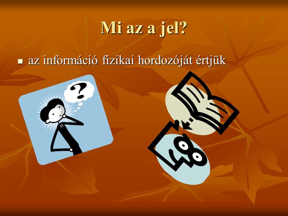 Mi az a jel az információ fizikai hordozóját értjük