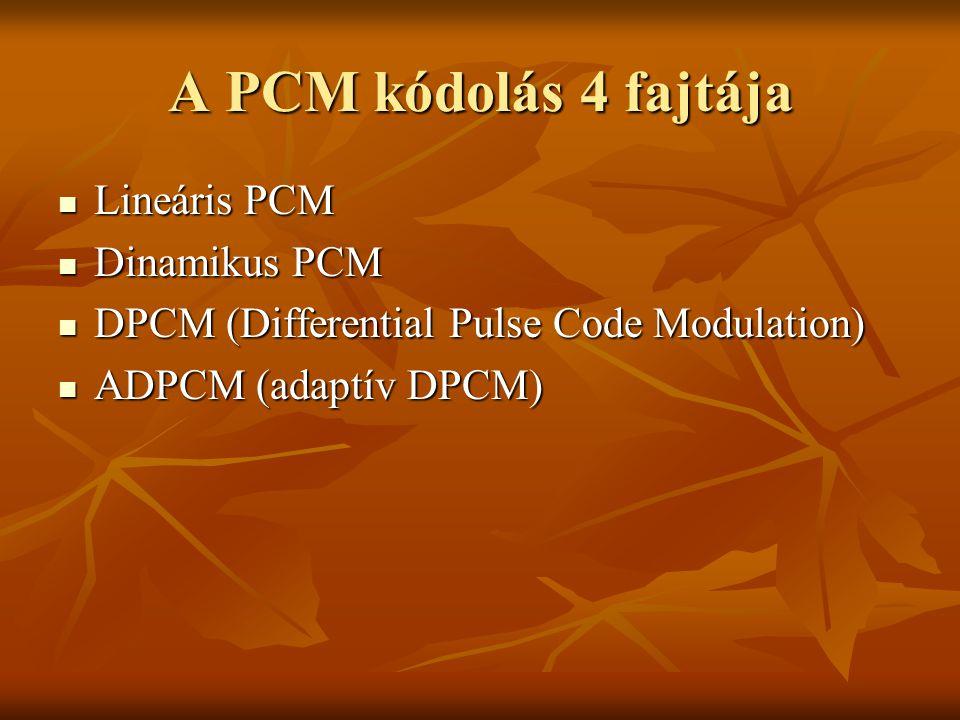 A PCM kódolás 4 fajtája Lineáris PCM Dinamikus PCM