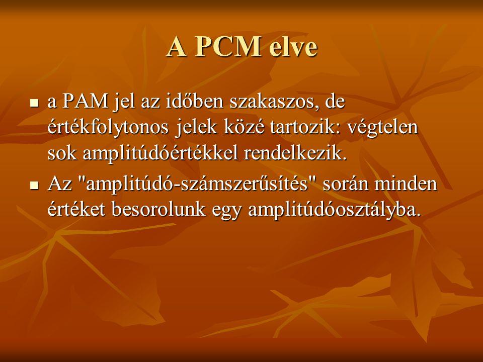 A PCM elve a PAM jel az időben szakaszos, de értékfolytonos jelek közé tartozik: végtelen sok amplitúdóértékkel rendelkezik.