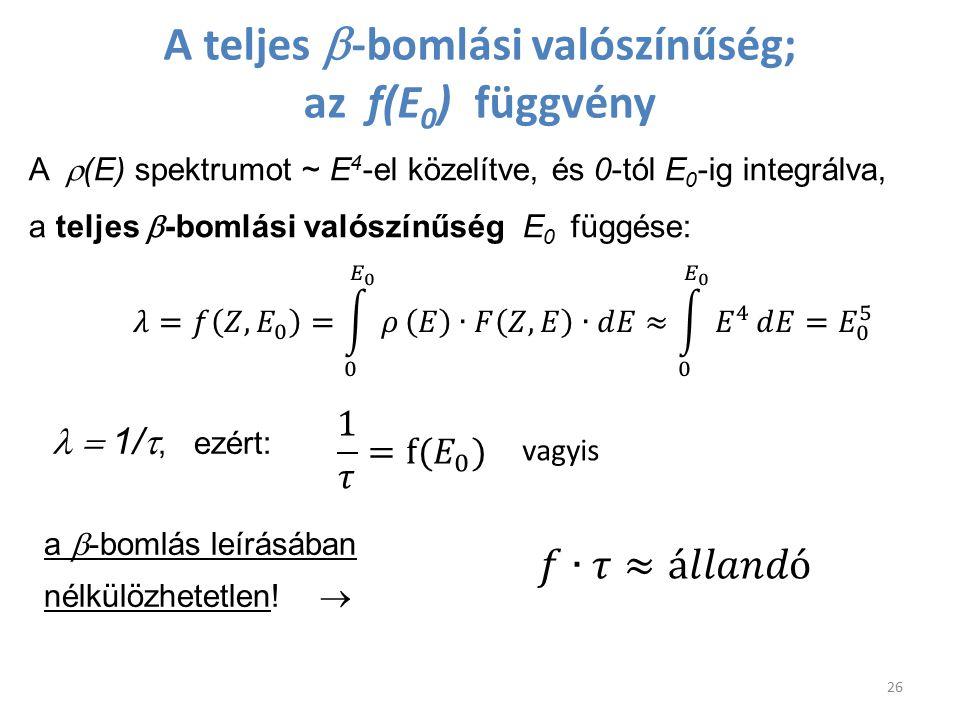 A teljes b-bomlási valószínűség; az f(E0) függvény