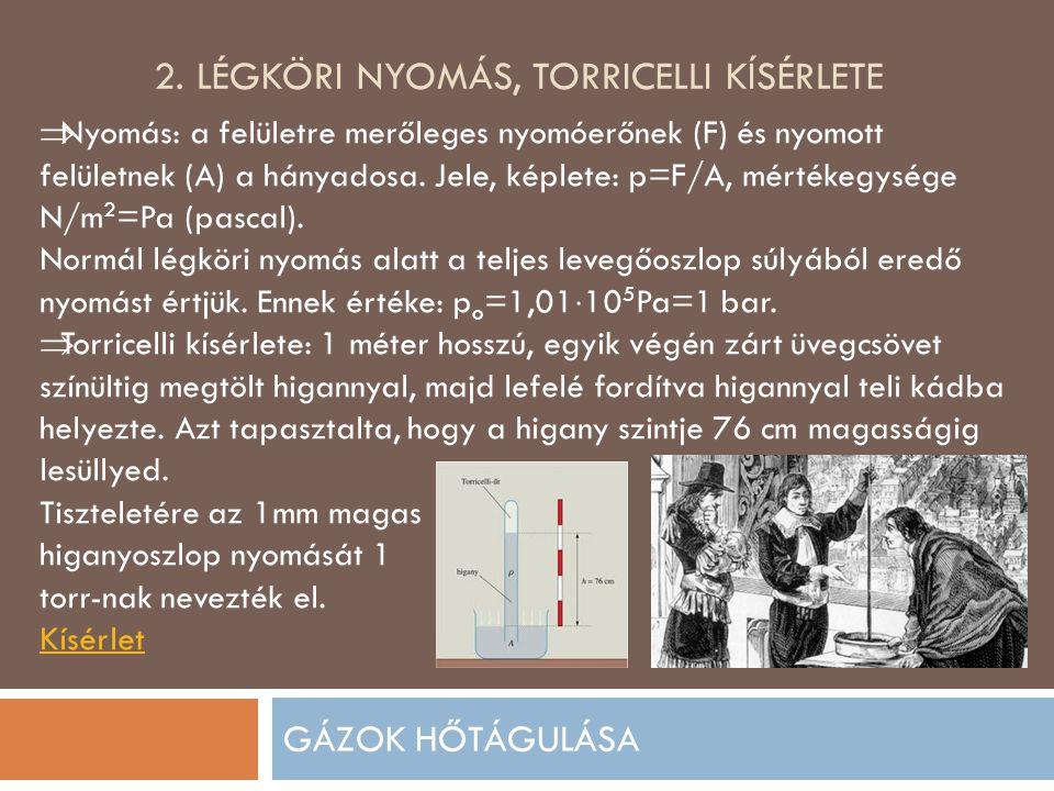 2. Légköri nyomás, torricelli kísérlete