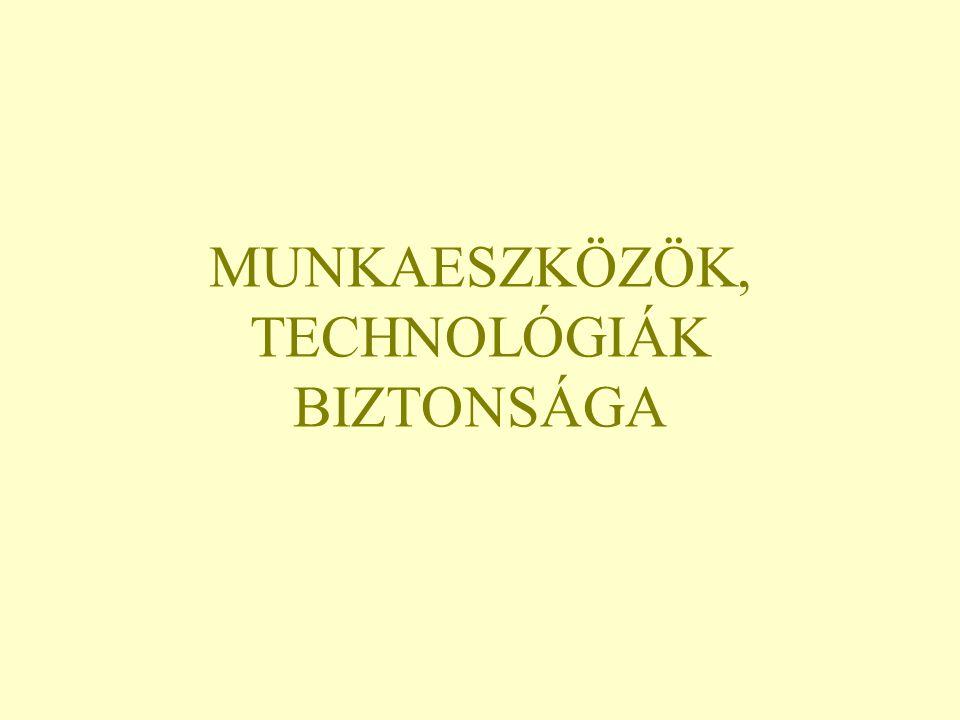 MUNKAESZKÖZÖK, TECHNOLÓGIÁK BIZTONSÁGA