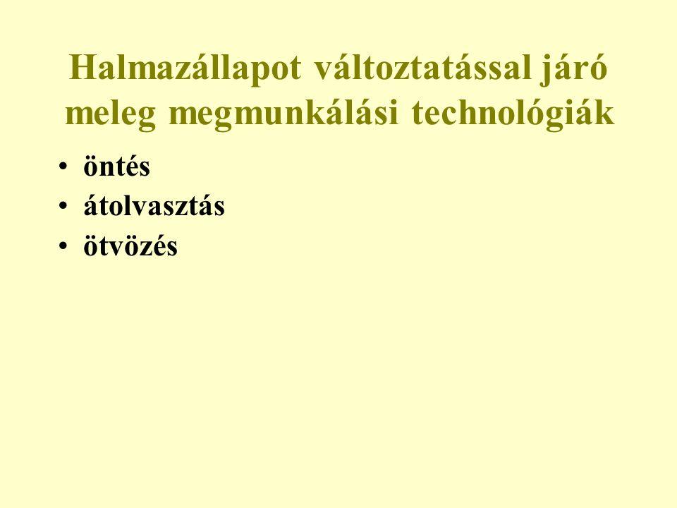 Halmazállapot változtatással járó meleg megmunkálási technológiák