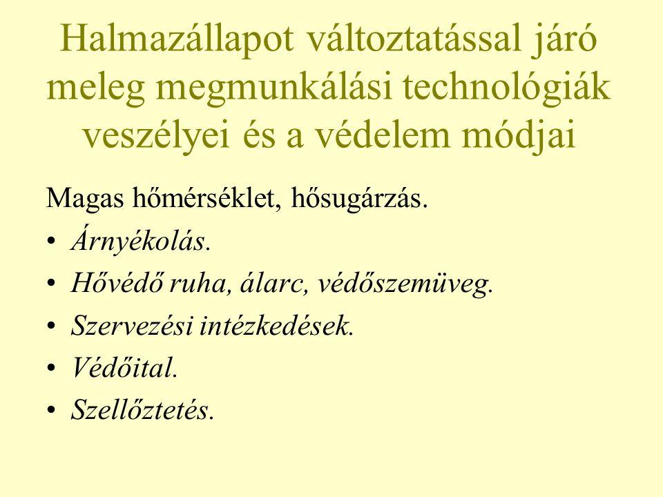 Halmazállapot változtatással járó meleg megmunkálási technológiák veszélyei és a védelem módjai