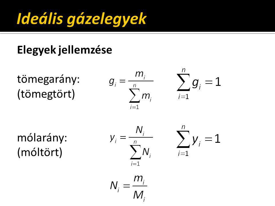 Ideális gázelegyek Elegyek jellemzése tömegarány: (tömegtört) mólarány: (móltört)