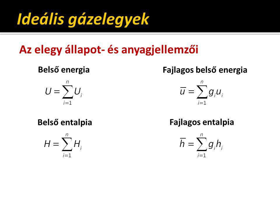 Ideális gázelegyek Az elegy állapot- és anyagjellemzői Belső energia
