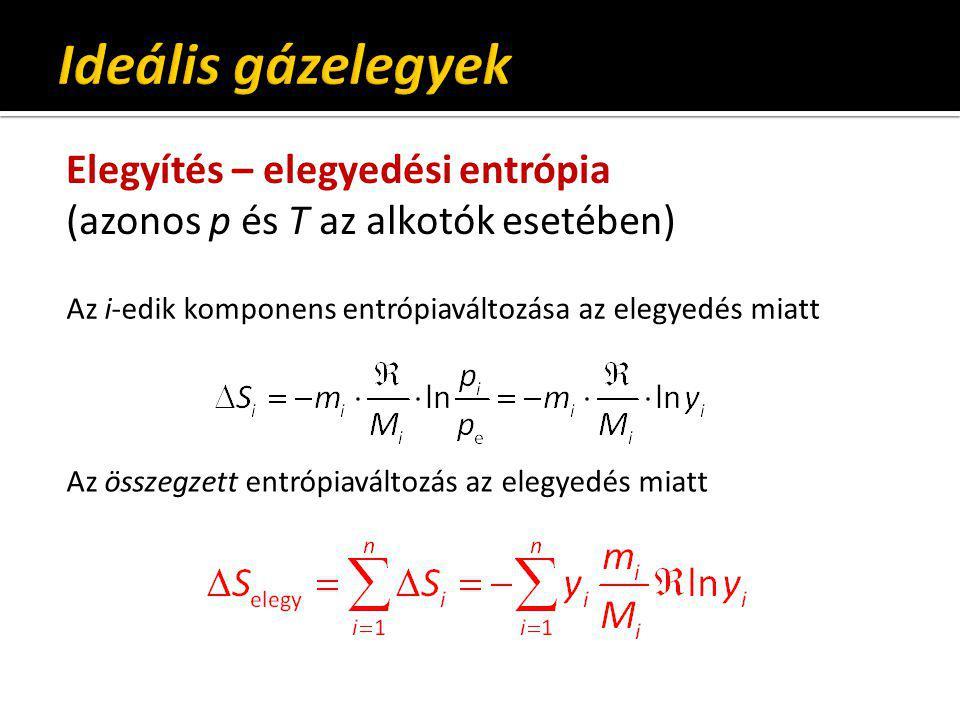 Ideális gázelegyek Elegyítés – elegyedési entrópia (azonos p és T az alkotók esetében) Az i-edik komponens entrópiaváltozása az elegyedés miatt.
