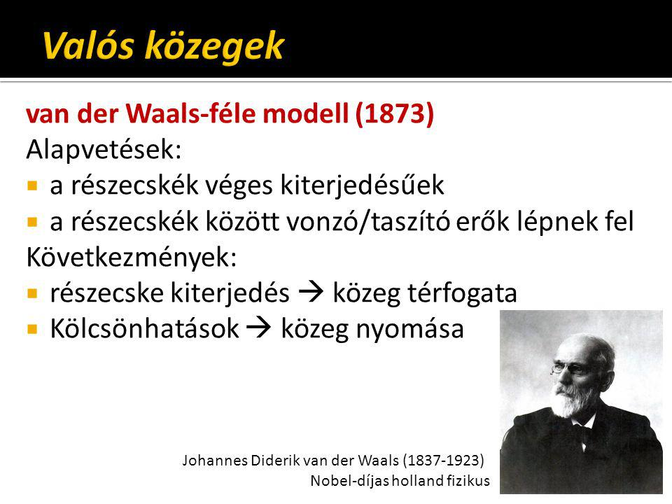 Valós közegek van der Waals-féle modell (1873) Alapvetések: