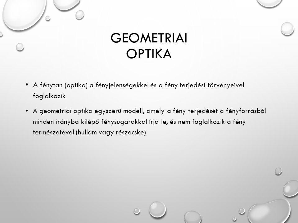 GeOmetriai Optika A fénytan (optika) a fényjelenségekkel és a fény terjedési törvényeivel foglalkozik.