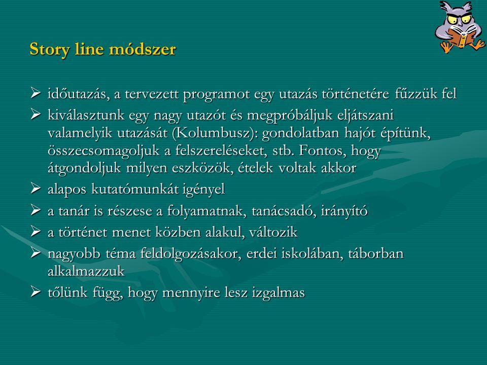 Story line módszer időutazás, a tervezett programot egy utazás történetére fűzzük fel.