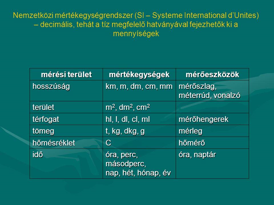 Nemzetközi mértékegységrendszer (SI – Systeme International d'Unites) – decimális, tehát a tíz megfelelő hatványával fejezhetők ki a mennyíségek