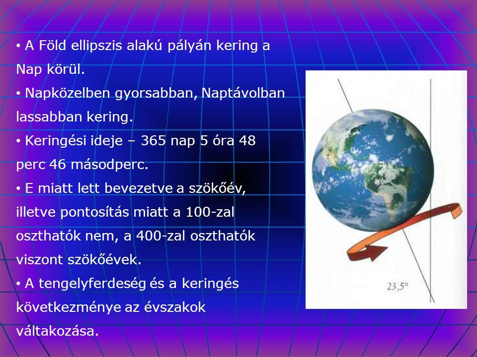 A Föld ellipszis alakú pályán kering a Nap körül.