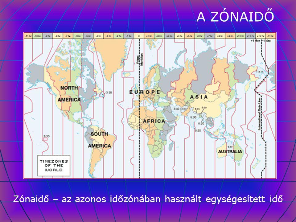 Zónaidő – az azonos időzónában használt egységesített idő
