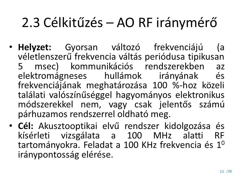 2.3 Célkitűzés – AO RF iránymérő