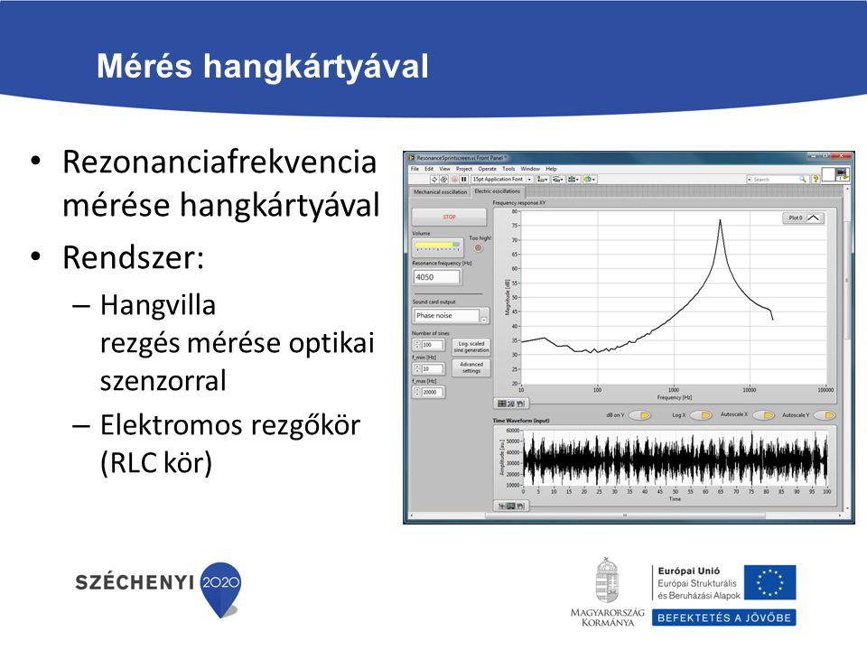 Rezonanciafrekvencia mérése hangkártyával Rendszer: