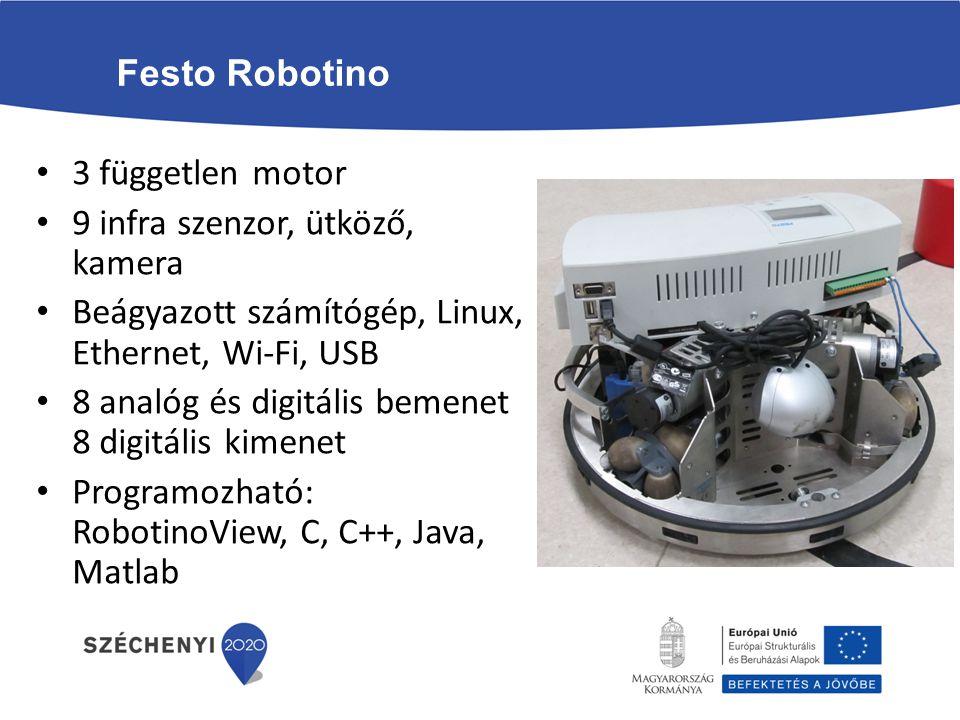 Festo Robotino 3 független motor. 9 infra szenzor, ütköző, kamera. Beágyazott számítógép, Linux, Ethernet, Wi-Fi, USB.