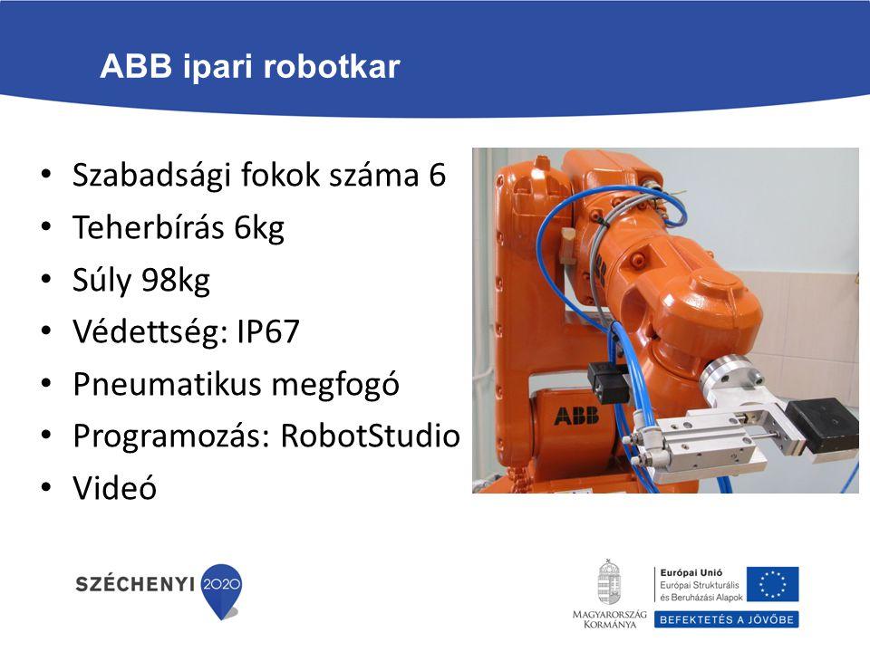 Szabadsági fokok száma 6 Teherbírás 6kg Súly 98kg Védettség: IP67