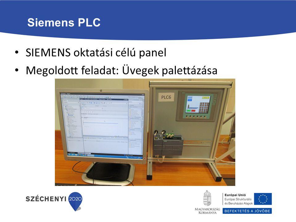 SIEMENS oktatási célú panel Megoldott feladat: Üvegek palettázása