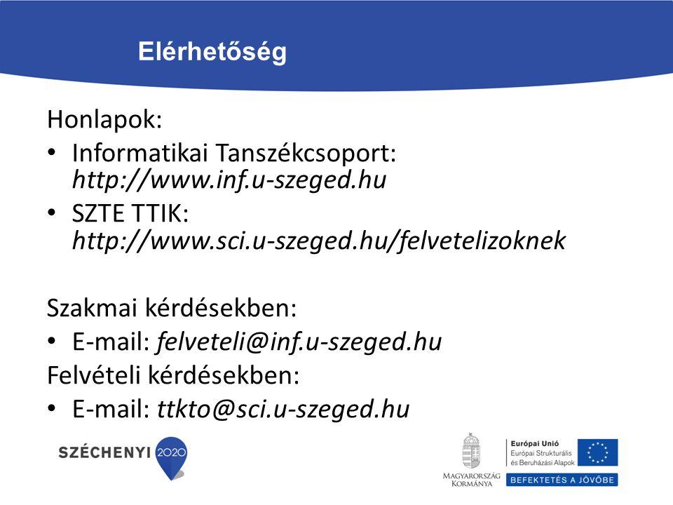 Informatikai Tanszékcsoport: http://www.inf.u-szeged.hu