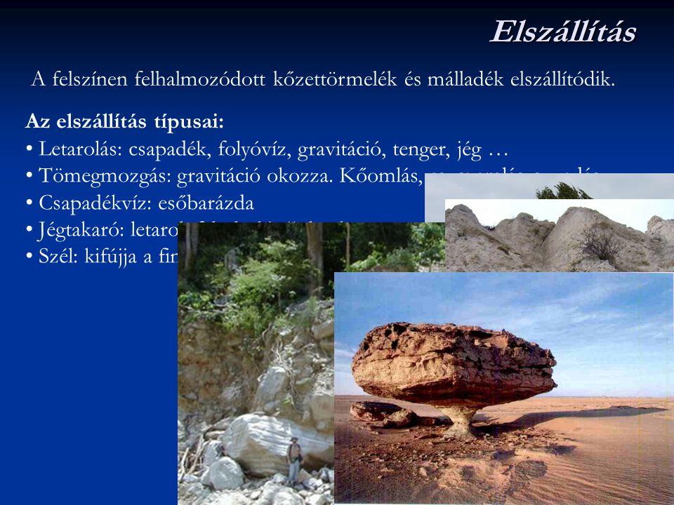Elszállítás A felszínen felhalmozódott kőzettörmelék és málladék elszállítódik. Az elszállítás típusai: